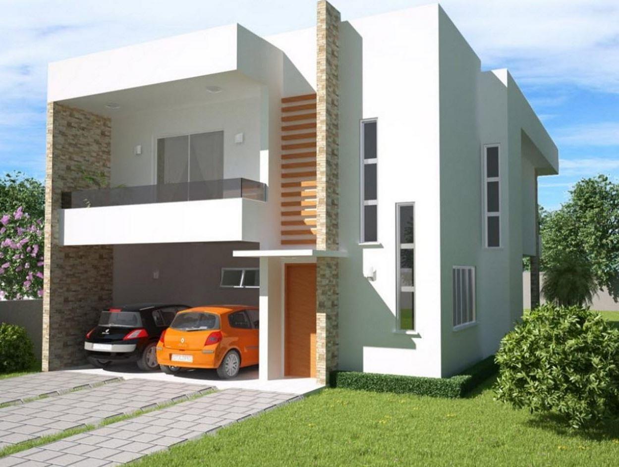 Fachada de casa de 2 pisos con ventanas verticales for Pisos para casas pequenas