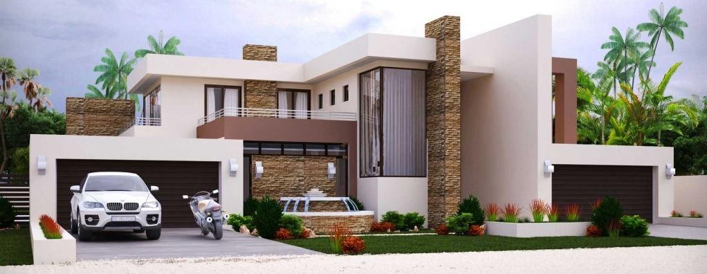 fachada de casa de dos pisos con terraza al frente