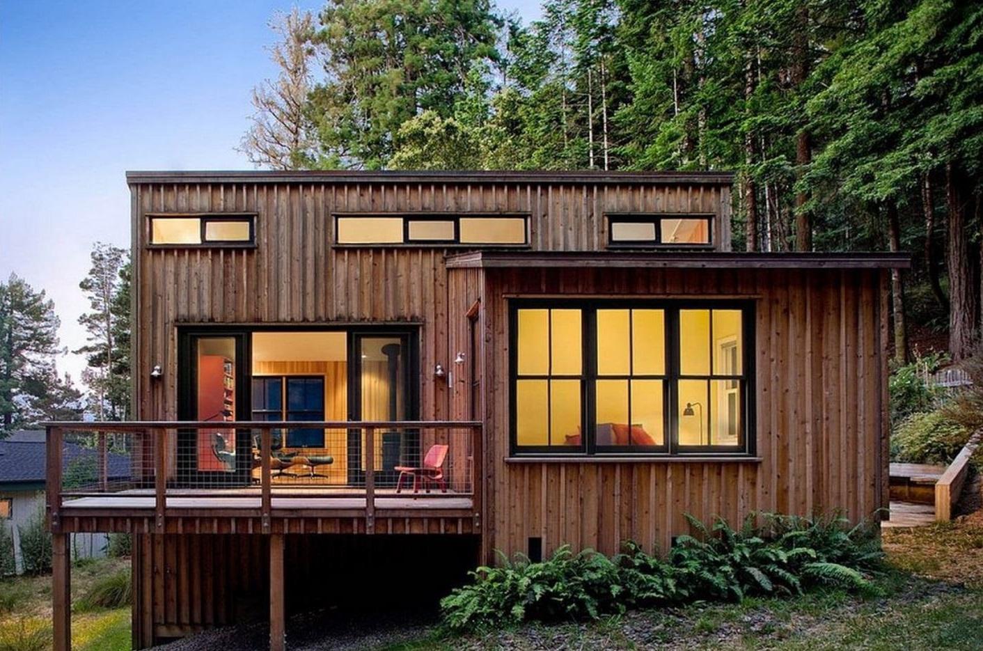 Fachadas con aberturas de aluminio for Casas de madera pequenas