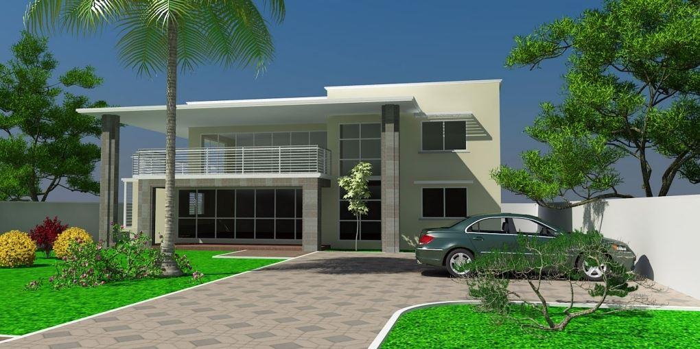 Fachadas con estacionamiento for Modern house plans in ghana