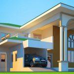 Fachadas de casas de dos plantas con columnas