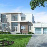 Fachada de casa amplia y moderna con 400 metros cuadrados