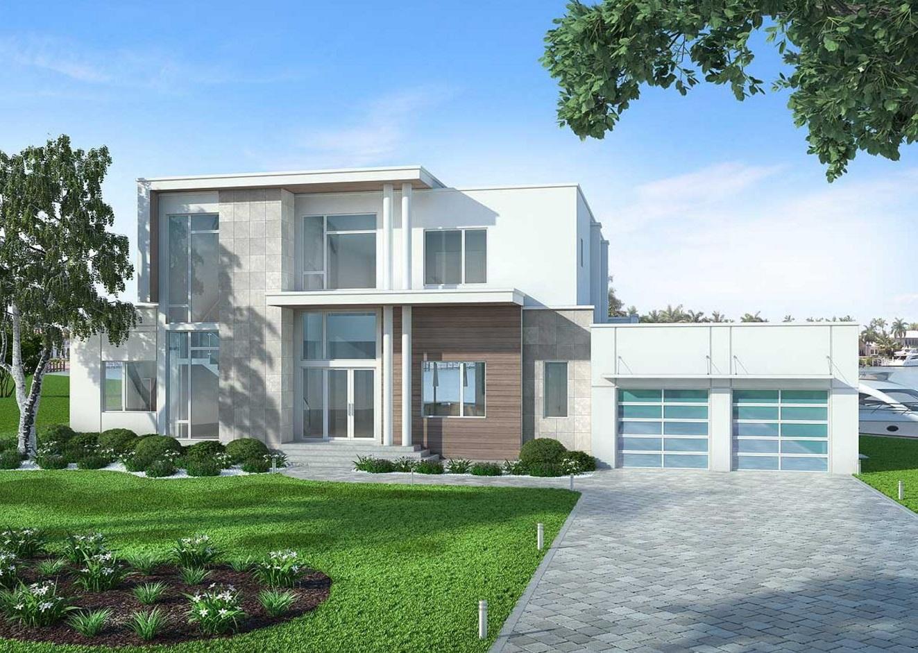 Fachada de casa amplia y moderna con 400 metros cuadrados for Casa moderna 50 metros cuadrados
