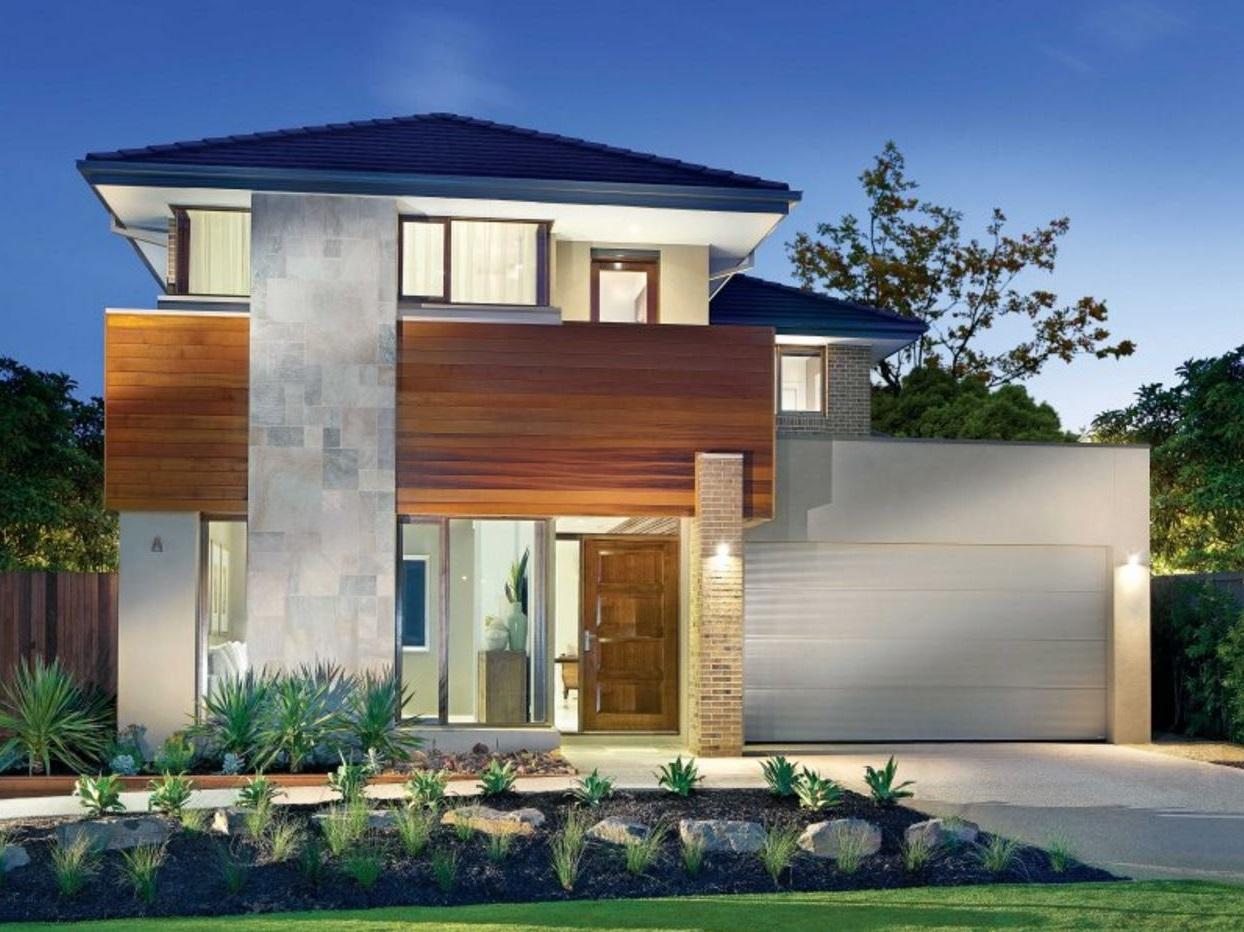 Fachada de casa bonita de dos pisos con garaje blanco for Fachada casa 2 pisos