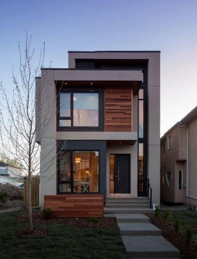 Fachadas de casas con paneles de madera - Revestimiento de fachadas exteriores ...