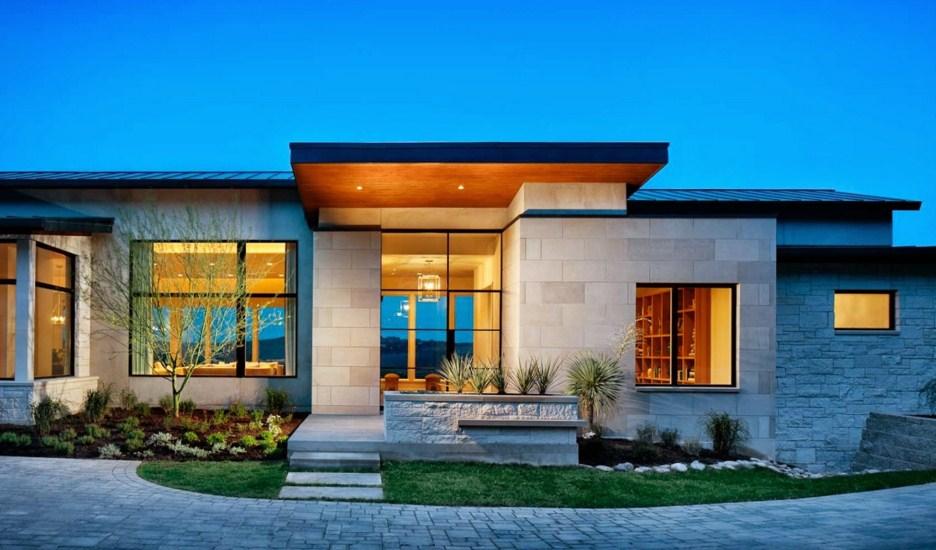20 fachadas de casas de una planta for Viviendas minimalistas pequenas