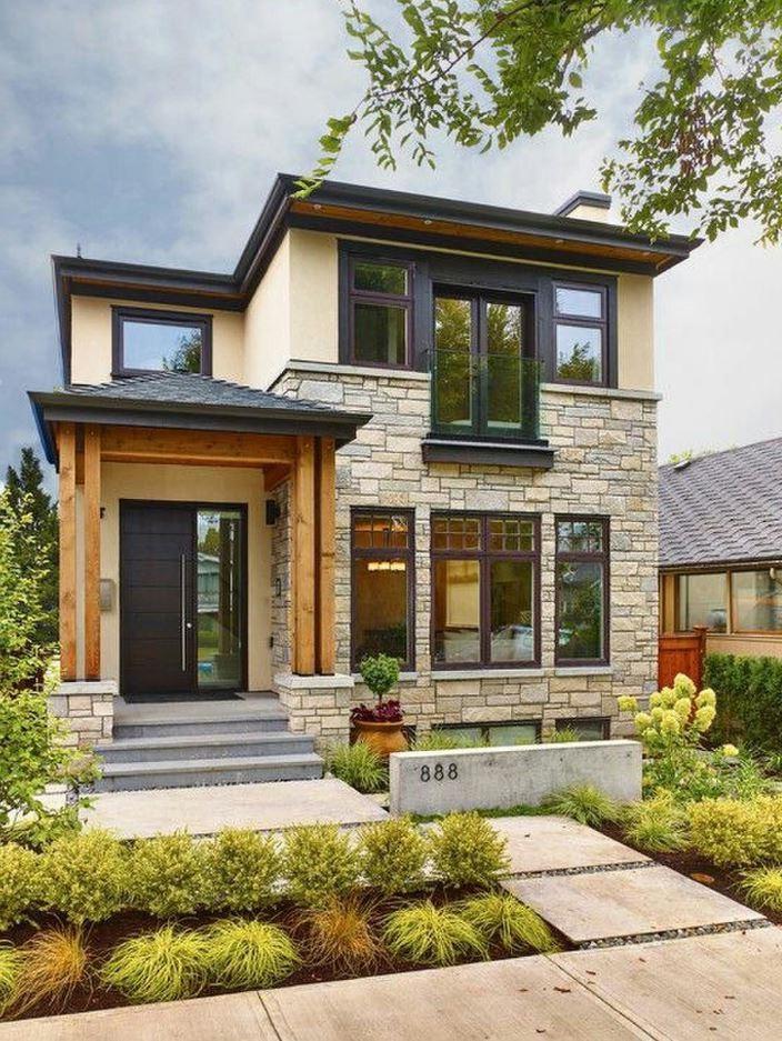 Fachada de casa angosta - Casas piedra y madera ...