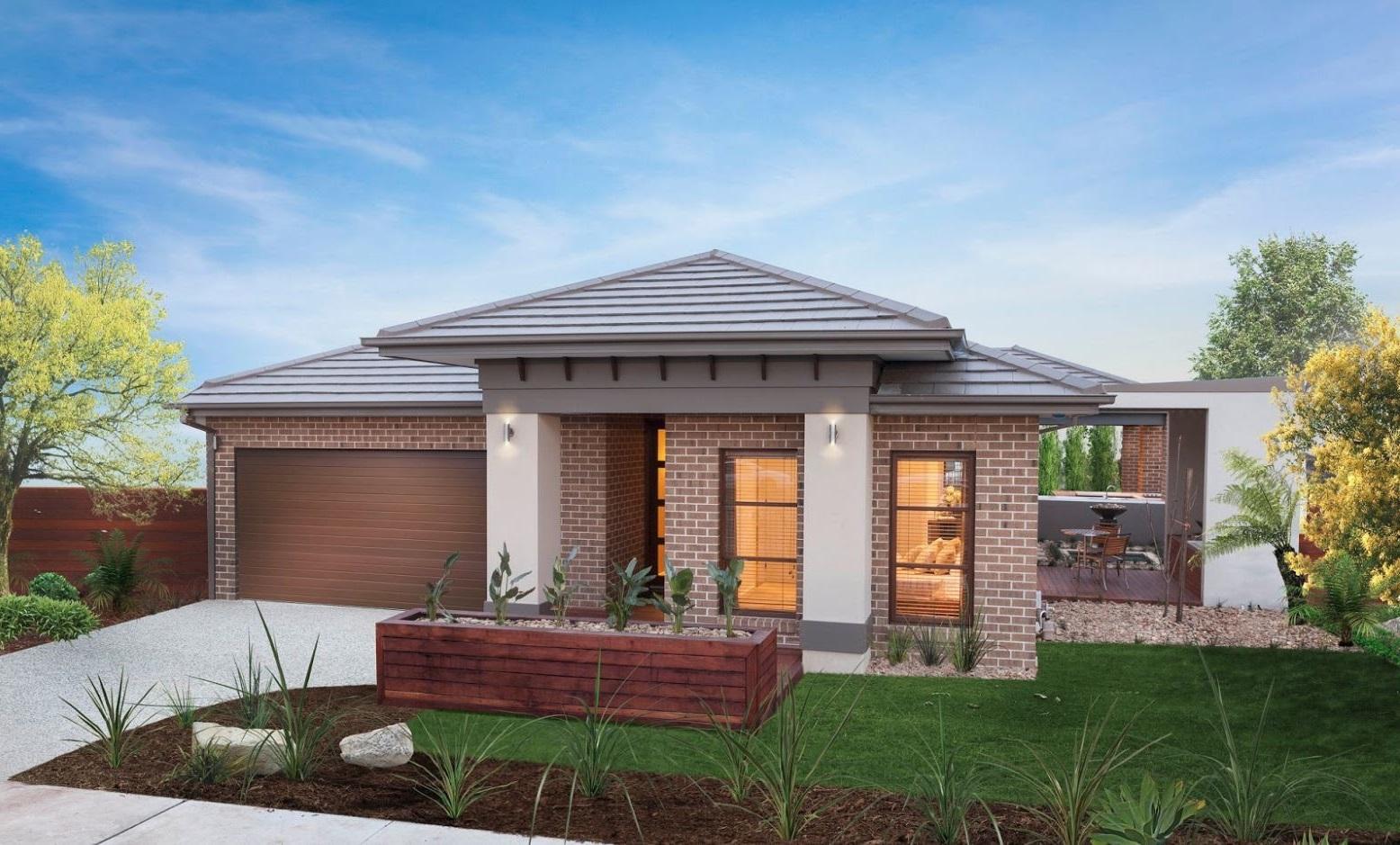 Fachada de casa con ladrillos vistos for Casas modernas 4 aguas