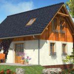 Fachada de casa con techo hasta el suelo