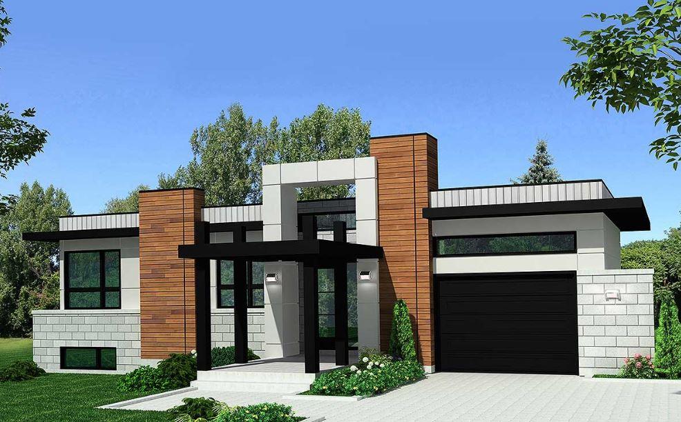 Fachada de casa con porcelanato for Casa con garage laterale