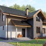 Fachada de casa prefabricada amplia