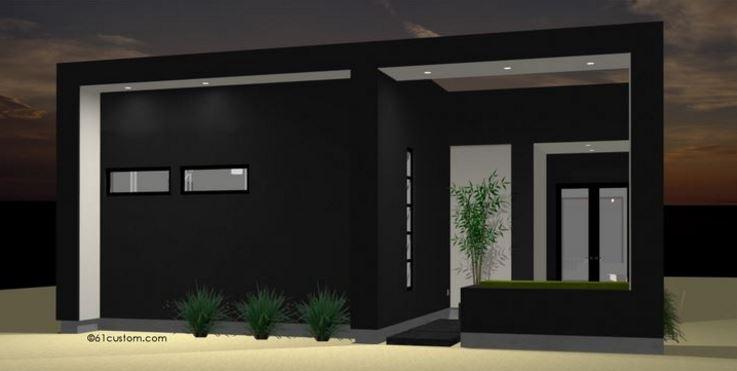 Fachada moderna de color negro for Fotos fachadas casas modernas minimalistas