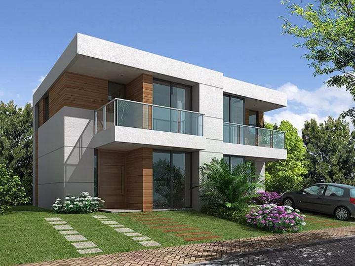 Fachadas de casas de dos pisos modernas con balcon for Fotos de casas modernas con balcon