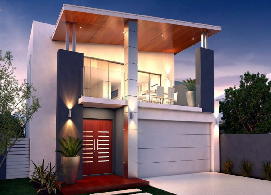 Fachadas de casas modernas con doble cochera for Viviendas modernas fachadas
