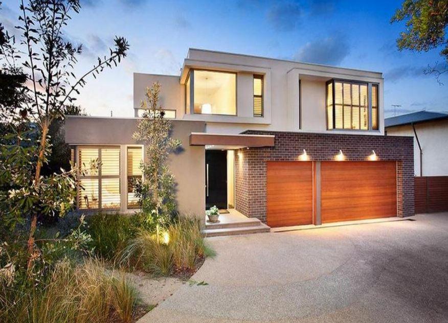 Fachadas con garage triple for Aberturas para casas modernas
