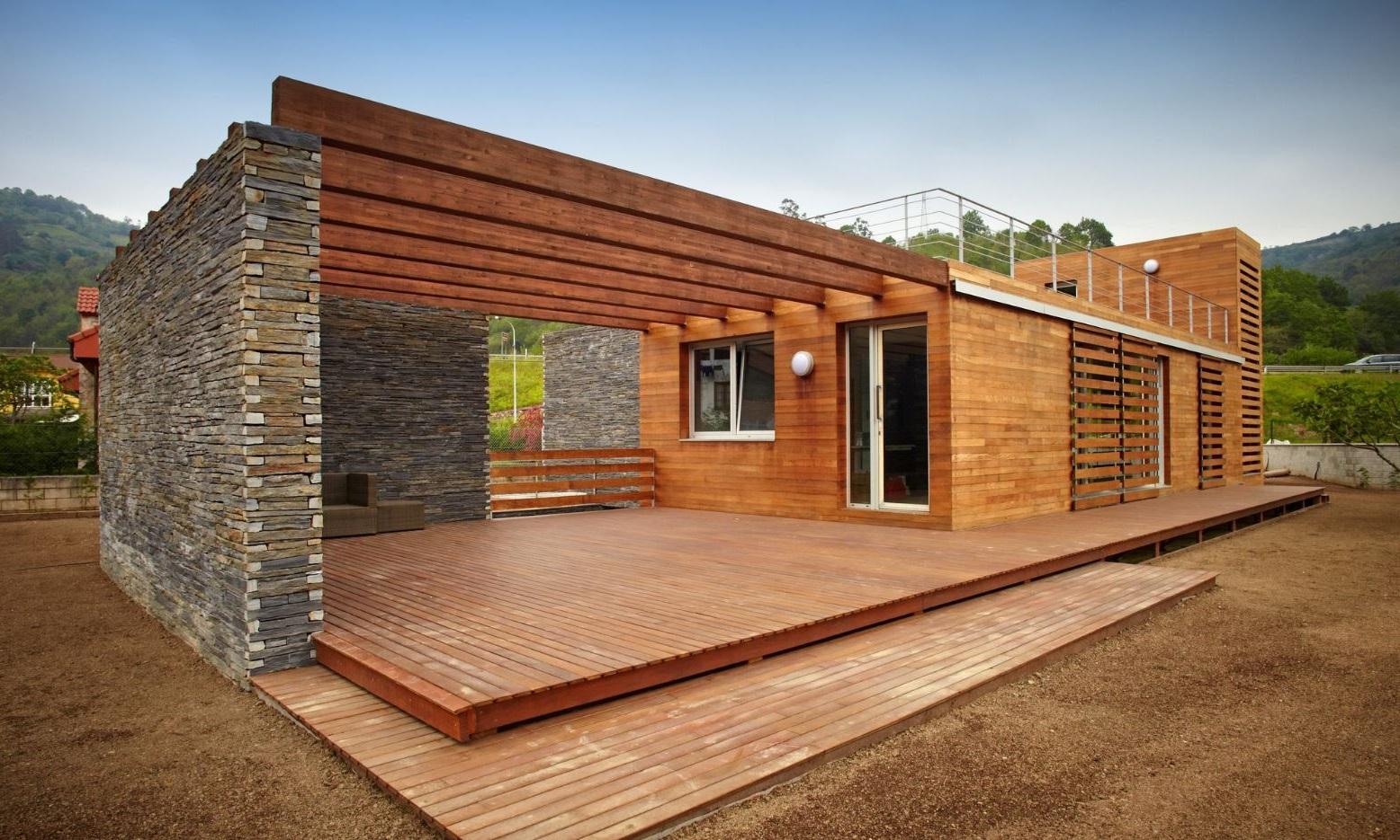Fachadas con deck - Casas de piedra y madera ...