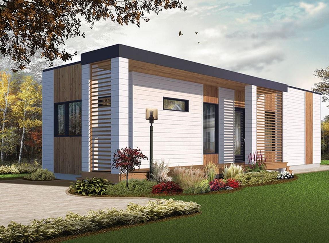 fachada de casa con p rgolas verticales