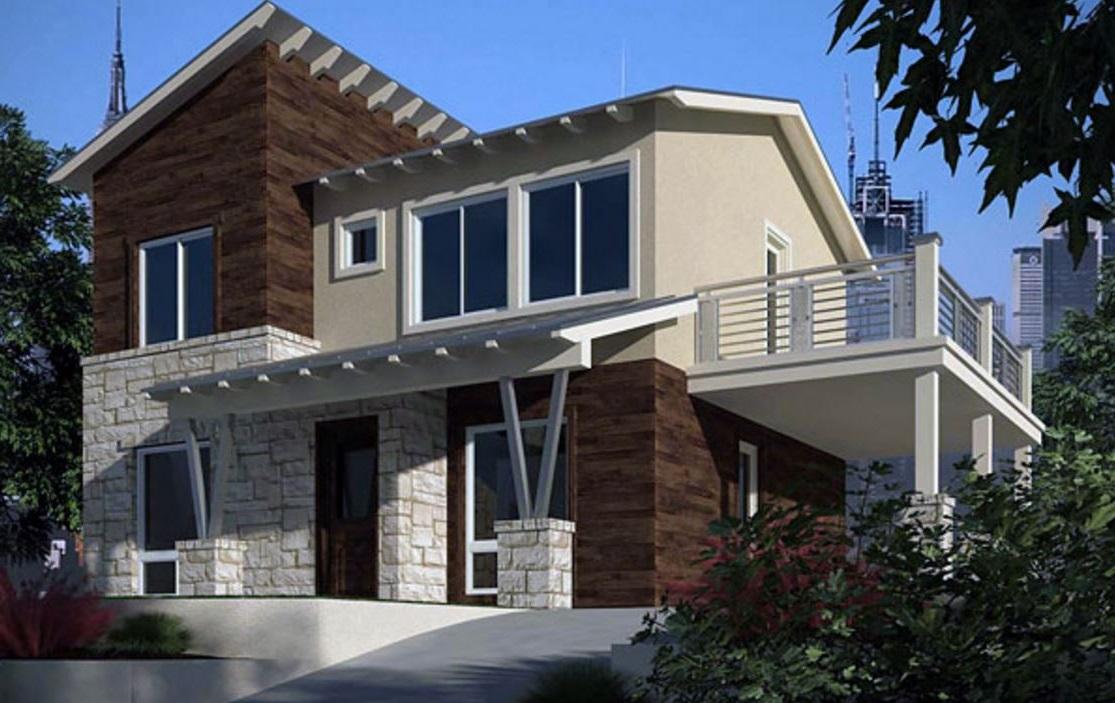 Fachada de casa de dos pisos con columnas for Casas alargadas