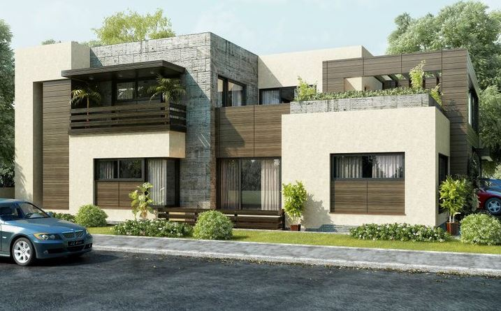 Fachada para casa en esquina for Pakistani new home designs exterior views