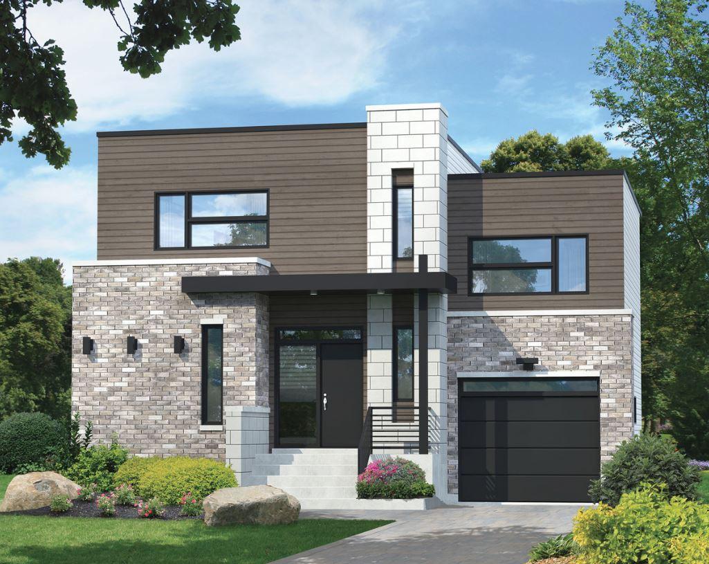 Fachada de 2 pisos con adoquines for Pisos para fachadas de casas