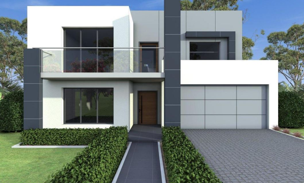 Fachadas De Casas En Blanco Y Gris on Modern Front House Elevation Designs