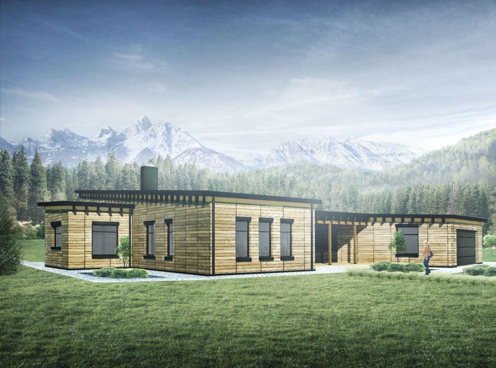 Fachada de casa grande for Casas modernas oscuras