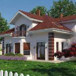 Casa con tejas y balcón