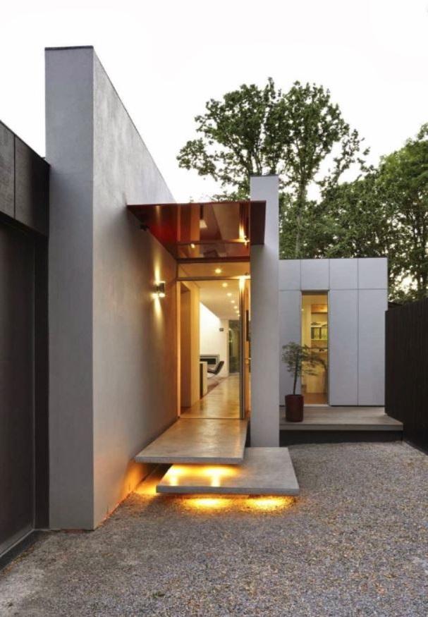 Fachada de casa angosta for Casas estrechas y alargadas