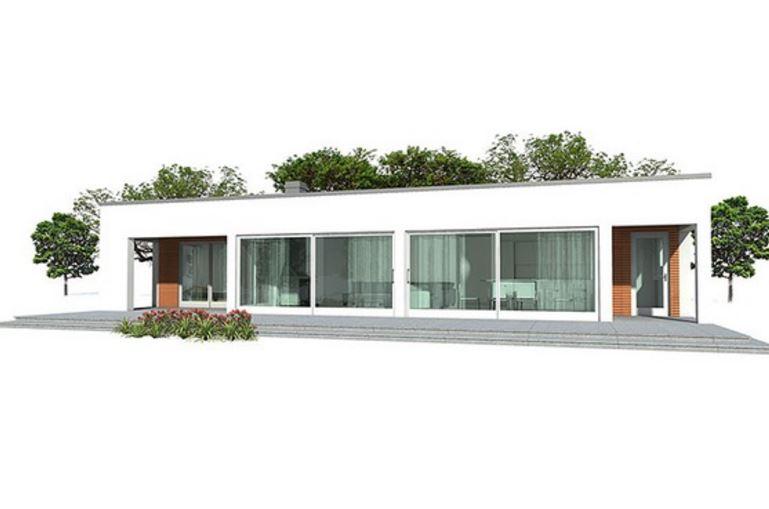 Fachada minimalista una planta for Casa minimalista en una planta