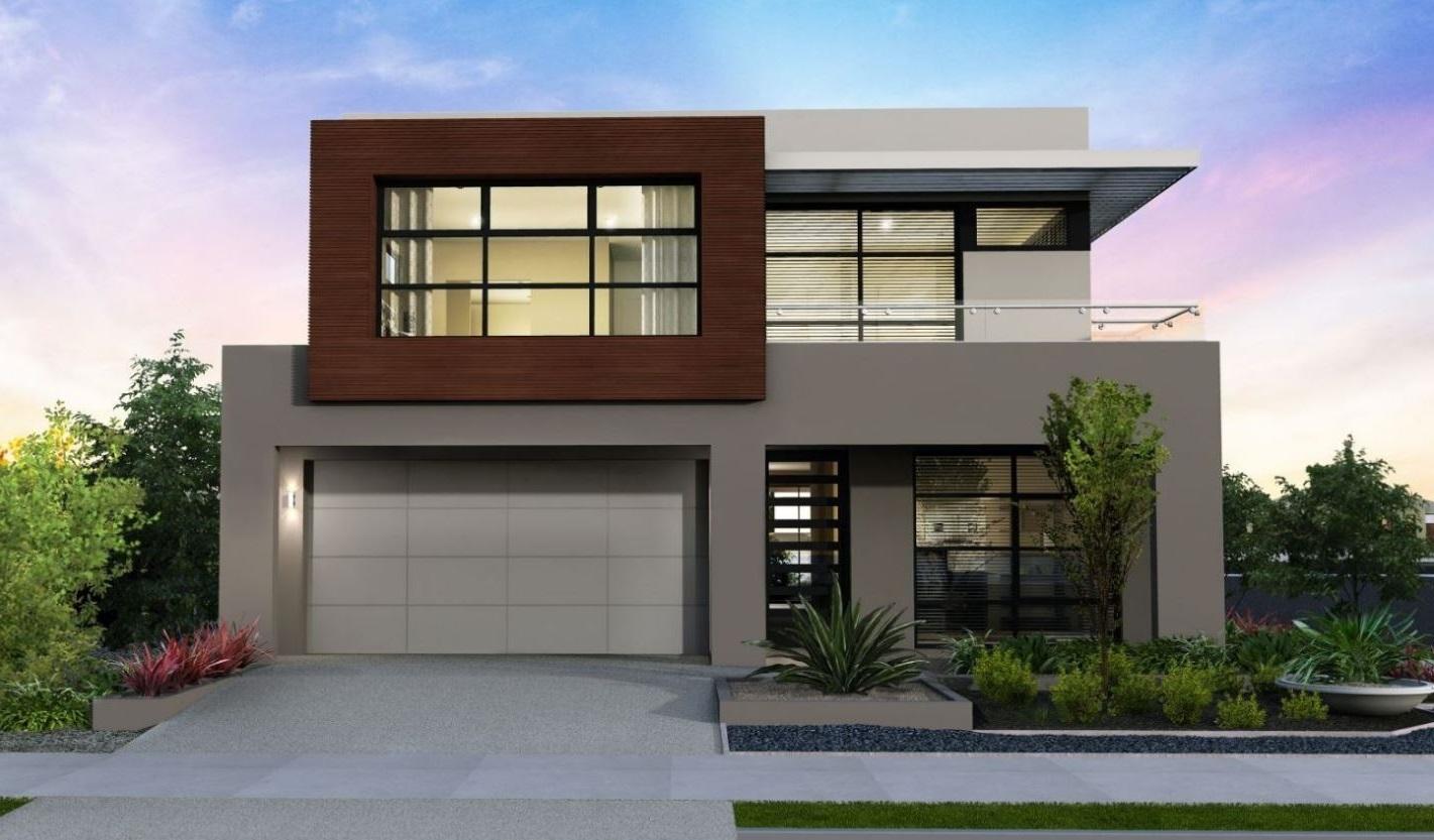 Fachada con balcon for Casas modernas oscuras