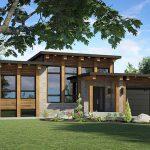 Casa con fachada de piedra y madera