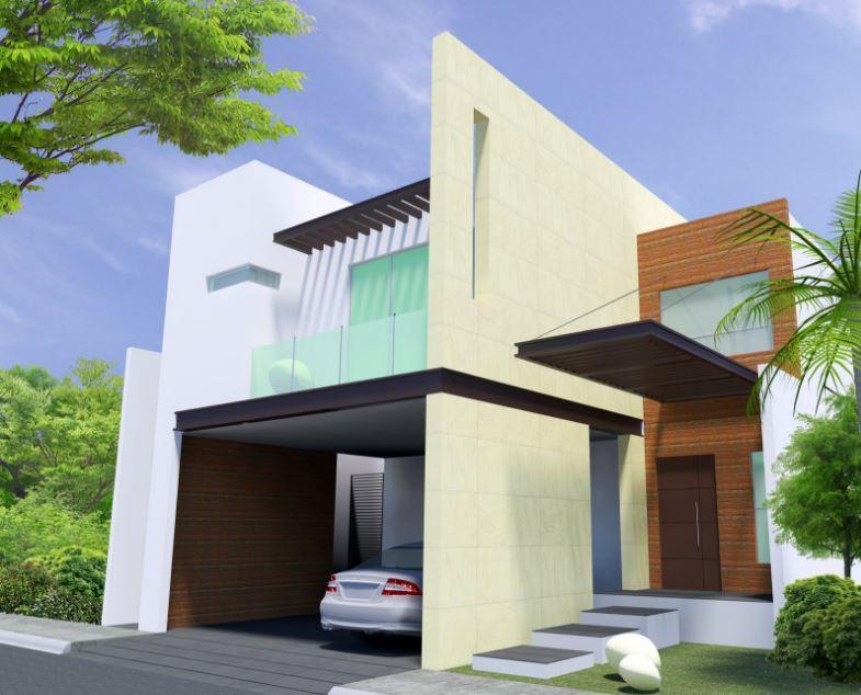 Fachadas con cochera abierta for Casas modernas de dos pisos 2017