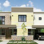 Fachada de casa con piedra natural y cochera abierta