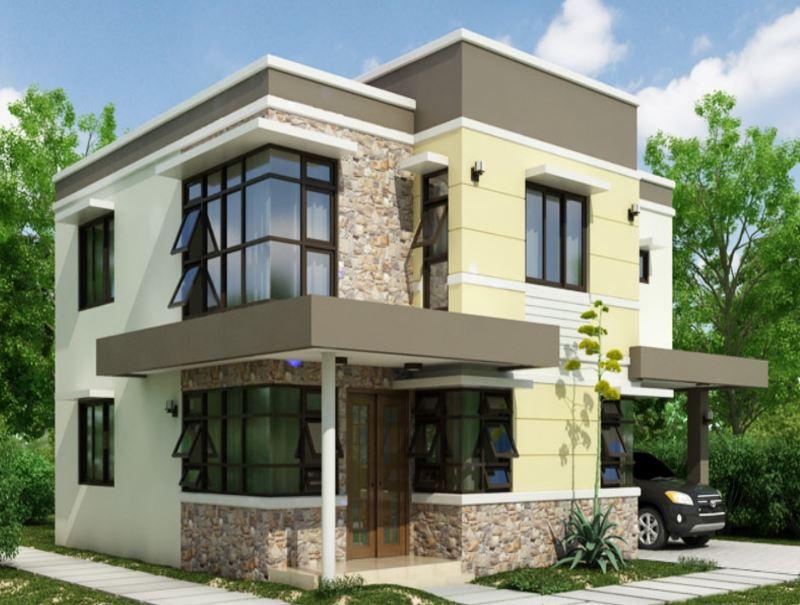 Fachadas con cochera abierta for Fachadas casas dos plantas