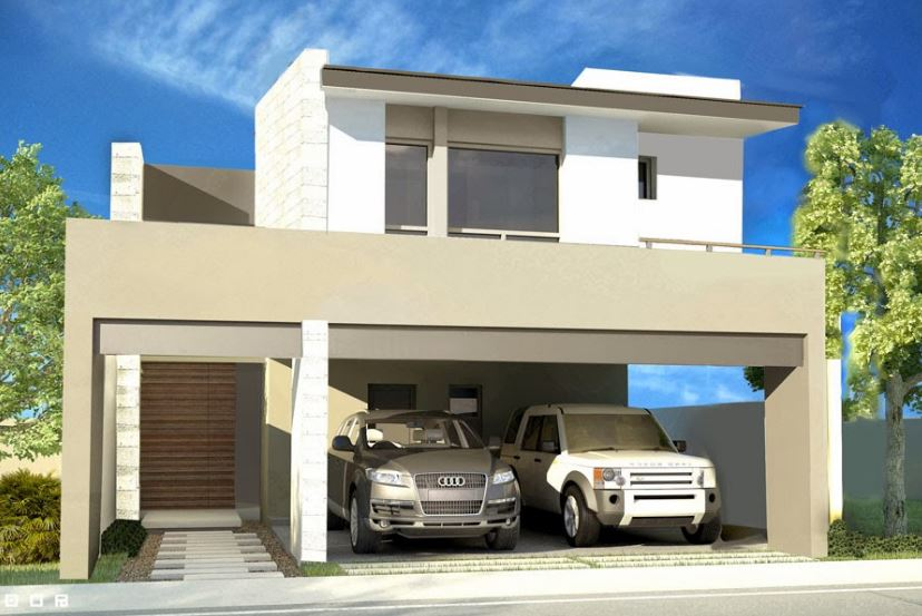 Fachadas de casas con cochera doble for Casa con grande garage