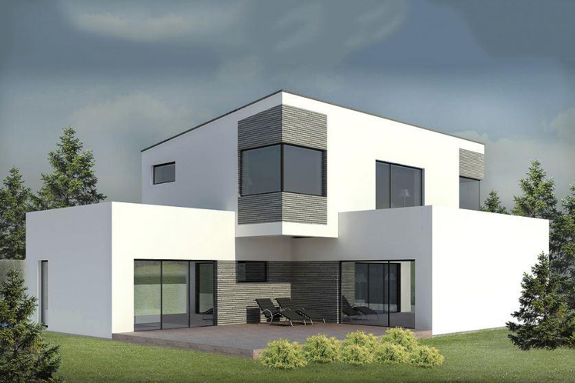 Fachada revestida en piedra for Colores en casas minimalistas
