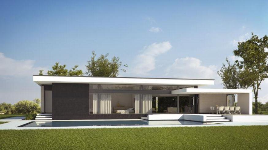 Fachada minimalista con piedra for Casa minimalista grande
