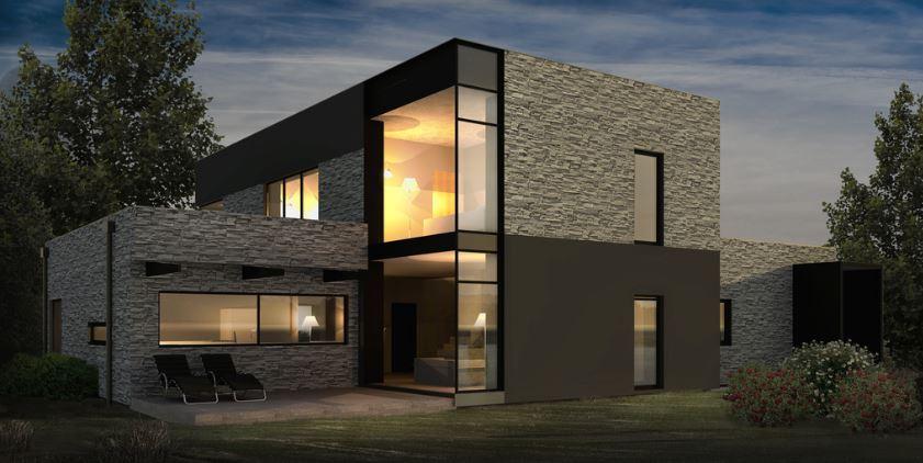 Fachada revestida en piedra for Piedras para fachadas minimalistas