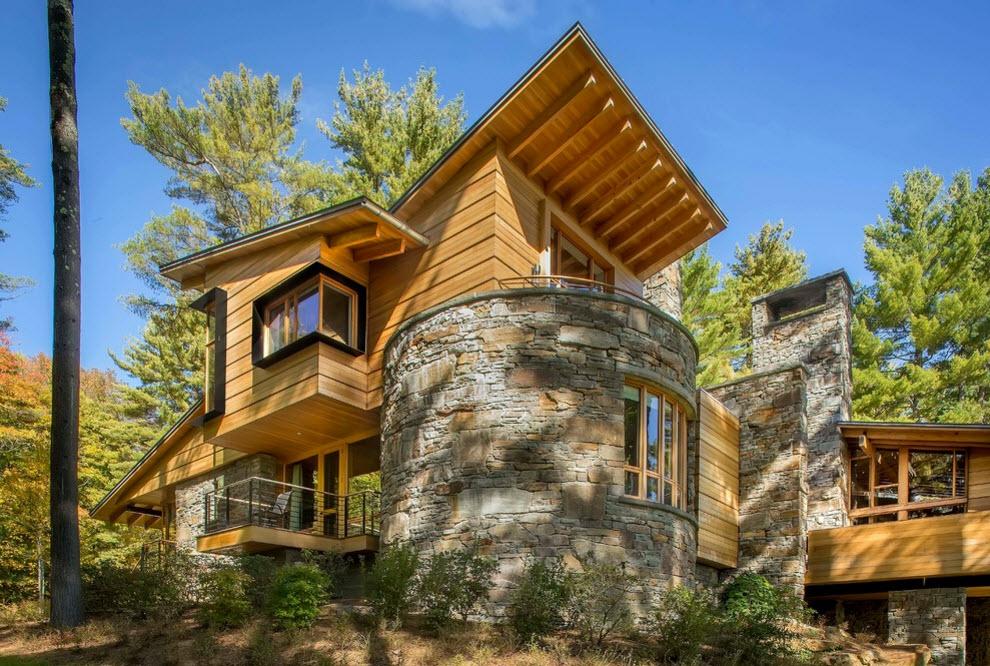 Fachada revestida en madera - Casas de madera y piedra ...