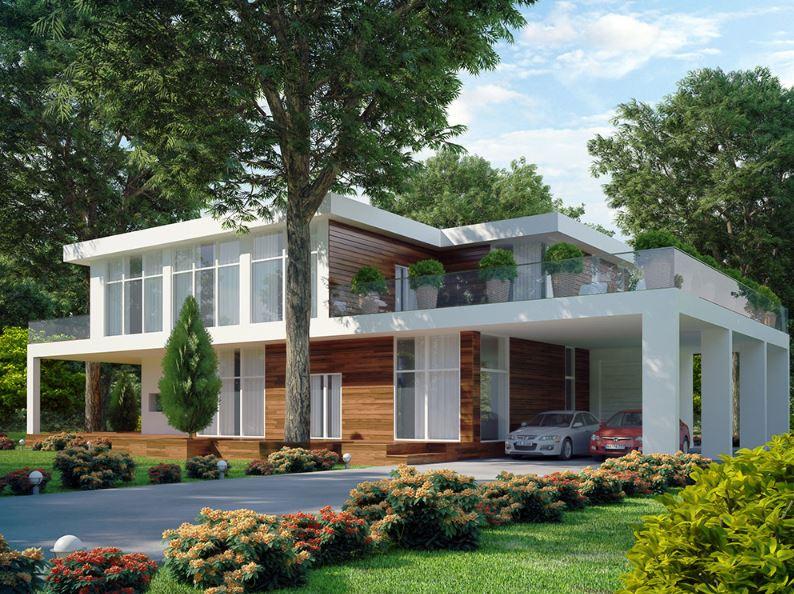 Fachadas de casas modernas for Modelos de piscinas campestres