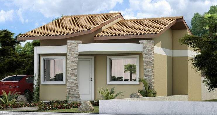 Fachadas de casas sencillas con puertas blancas for Modelos de puerta de madera para casa