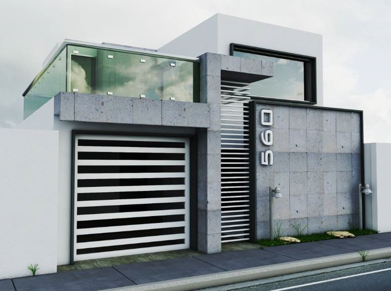Barandales para frente de casa for Fachadas de garajes modernos