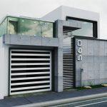 Casa con terraza con baranda de cristal