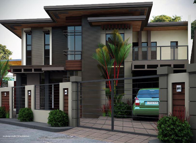 iniciamos nuestro recorrido por este hermoso modelo de vivienda con fachada en diagonal para este modelo se ha escogido una reja muy liviana - Rejas Modernas