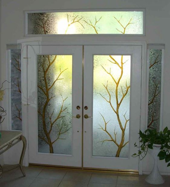 Puerta de doble hoja for Puertas de metal con vidrio
