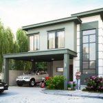 Fachada de casa de color gris petróleo