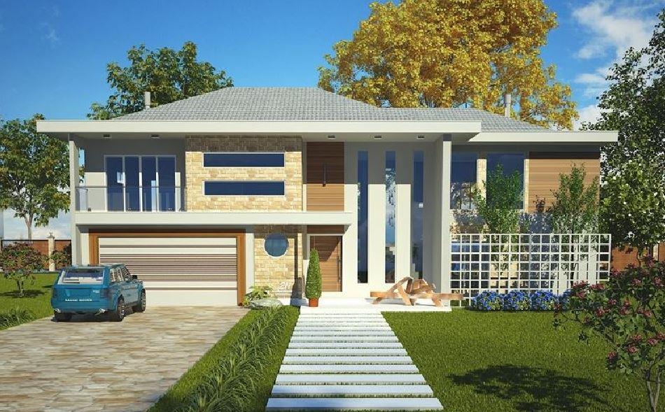 Fachadas de casas modernas de 12 metros de frente for Fachadas frontales de casas