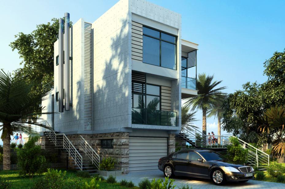 Fachadas de casas de tres niveles for Fachadas modernas para casas de tres pisos