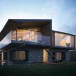 Fachada de casa de dos pisos revestida en piedra
