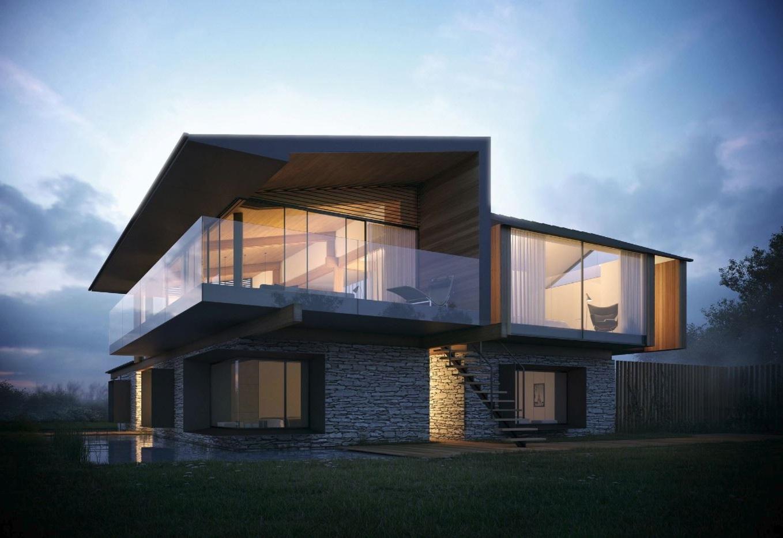 Barandas de vidrio para balcones for Piedra rustica para fachadas